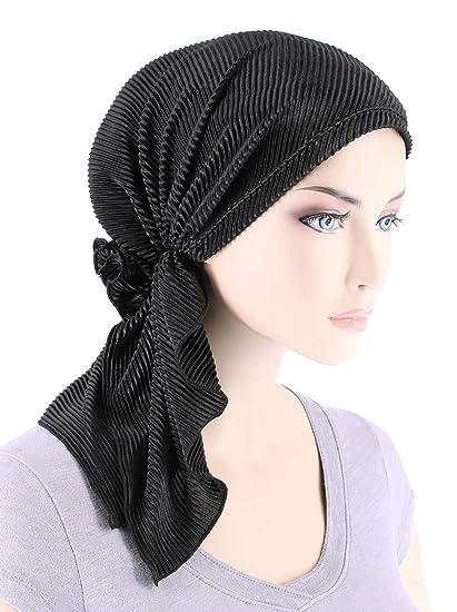 The Bella Scarf Chemo Turban Head Scarves Pre-Tied Bandana for Cancer  Plisse Black 2218feecffc4