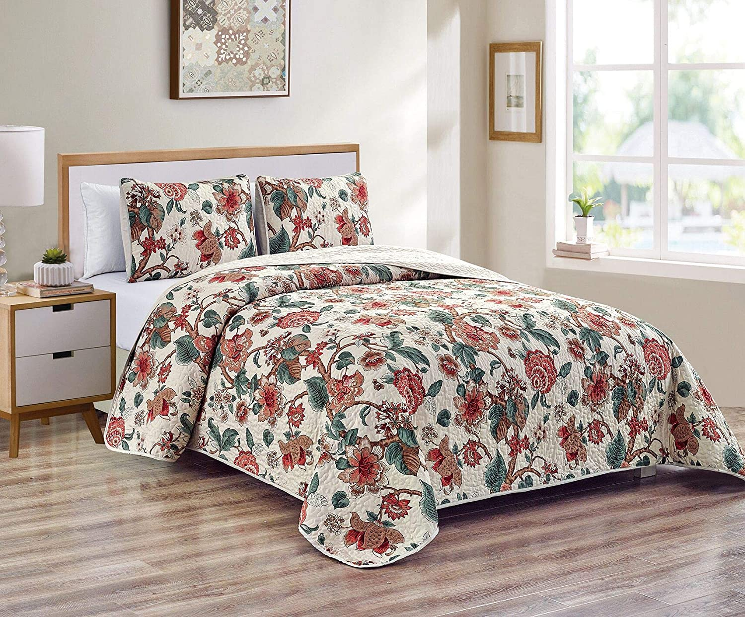 Better Home Style 3 Piece Multicolor Luxury Lush Soft Floral Flowers Paisley Printed Design Quilt Coverlet Bedspread Oversized Bed Cover Set # 2435 (Full/Queen)