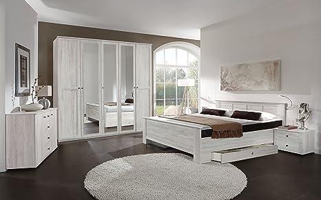 Camera Da Letto Rovere Bianco : Armadio chalet a 4 5 6 porte effetto rovere bianco con specchio
