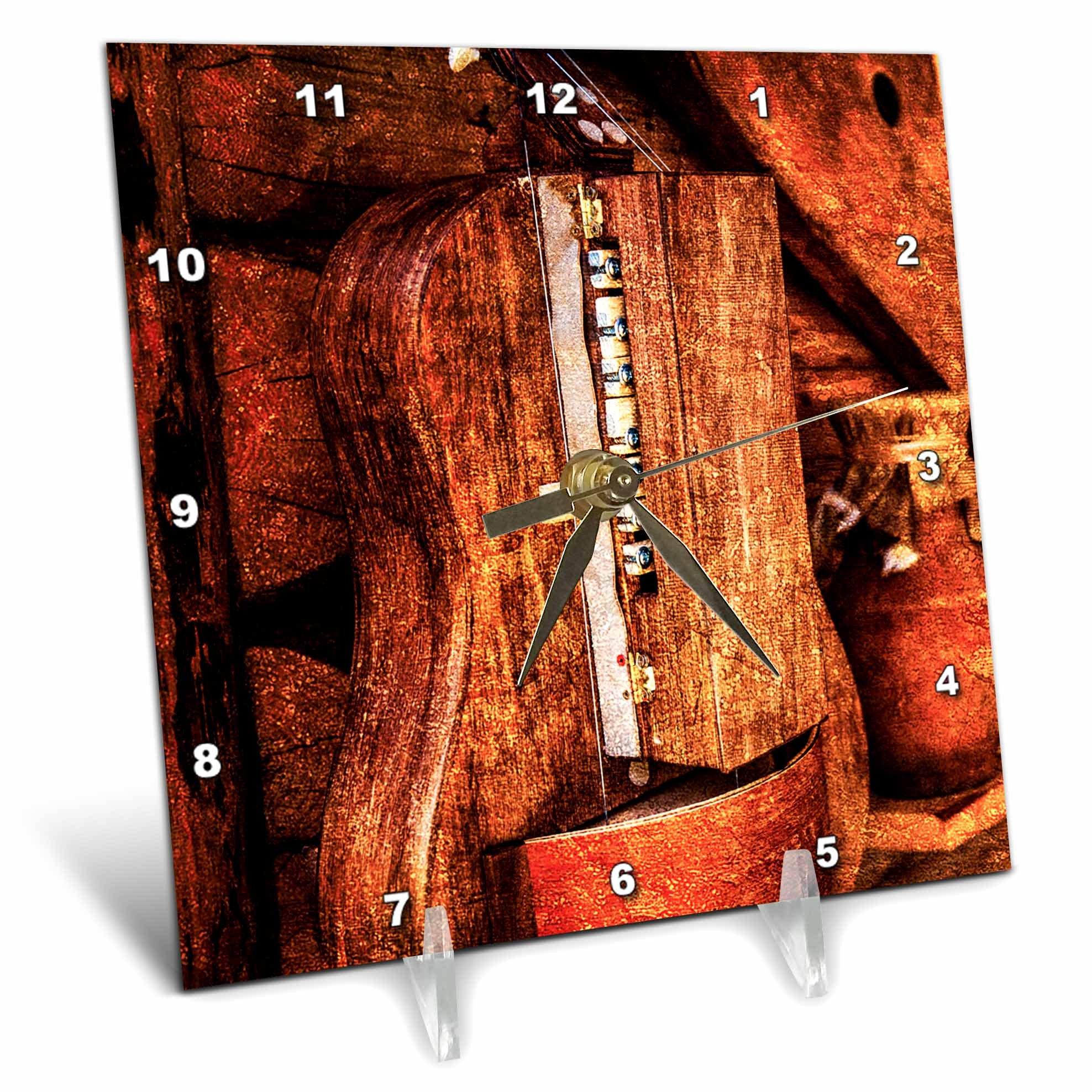 3dRose Alexis Photography - Objects - Golden age technologies - Hurdy-gurdy or lira tedesca. Stylized photo - 6x6 Desk Clock (dc_270872_1)