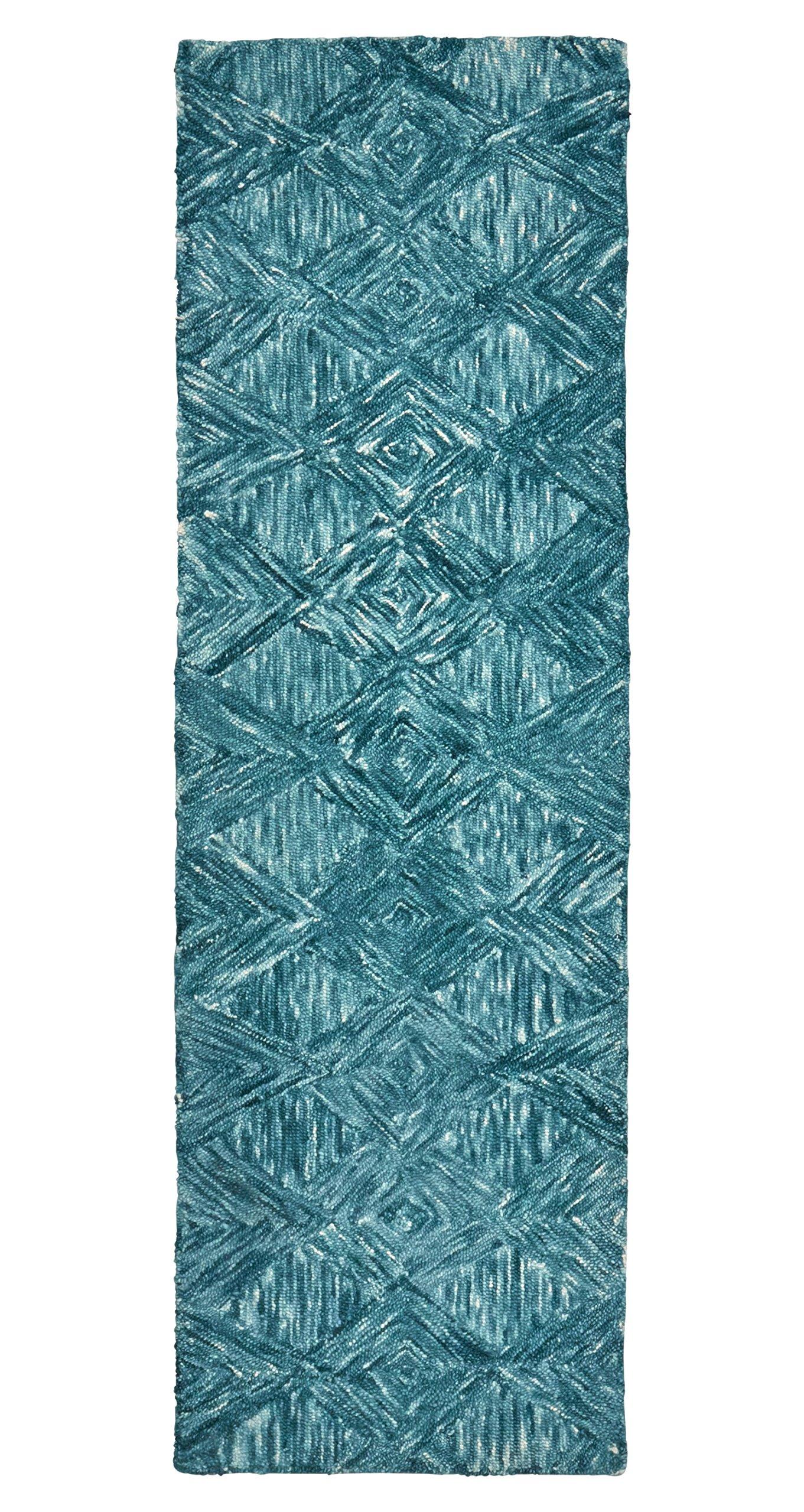 Rivet Motion Patterned Wool Runner, 2'3 x 7'6, Marine Blue