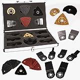 Set de 34 accessoires pour l'outil multifonctions AREBOS dans un coffret en aluminium