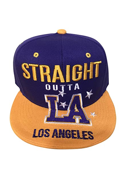 3a3468fa21203e LEADER OF THE GAME Straight Outta LA Cap/Hat in Lakers Colors Purple ...