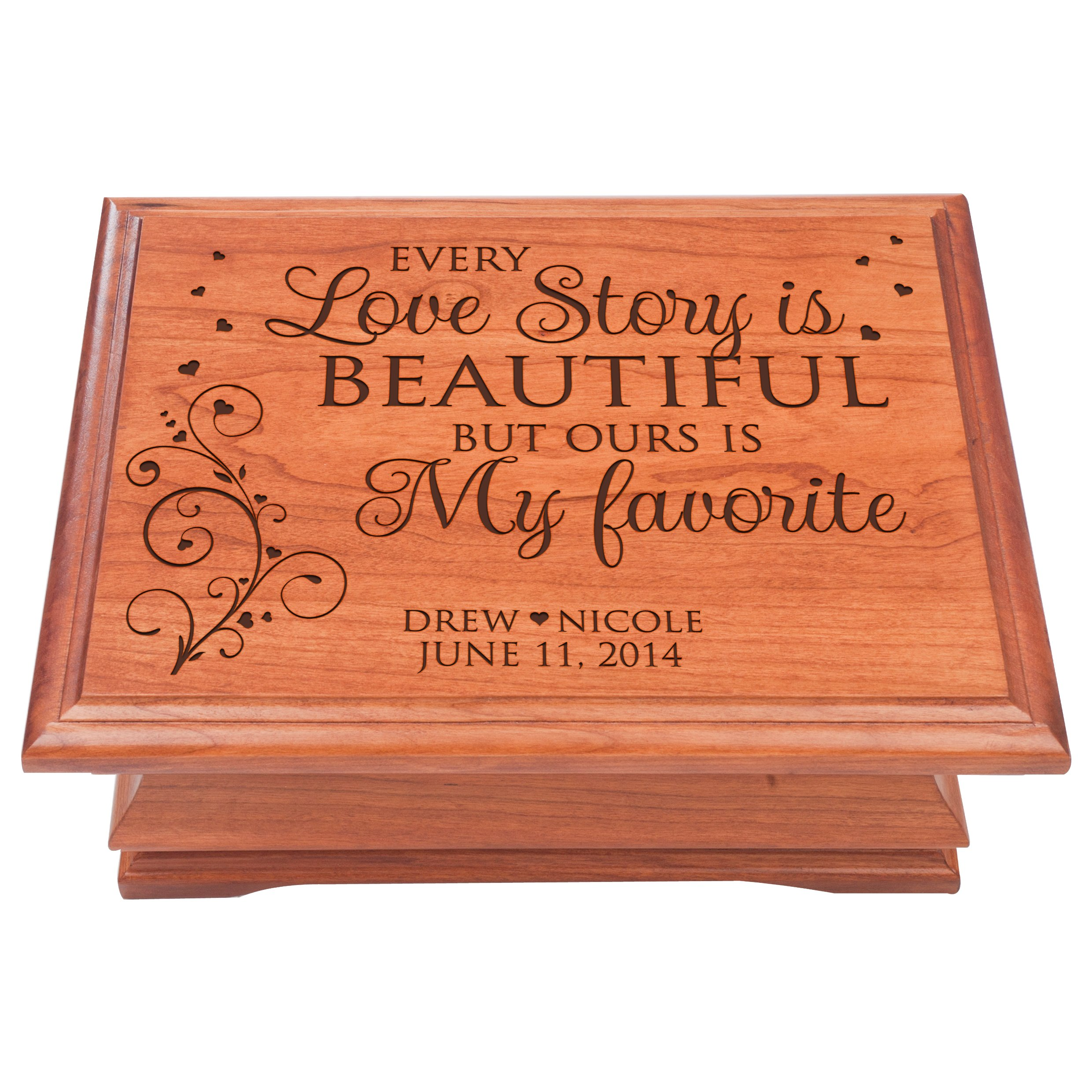 Personalized Jewelry Box for Couple Anniversary Gift for her, Keepsake Box Every Love Story is Beautiful