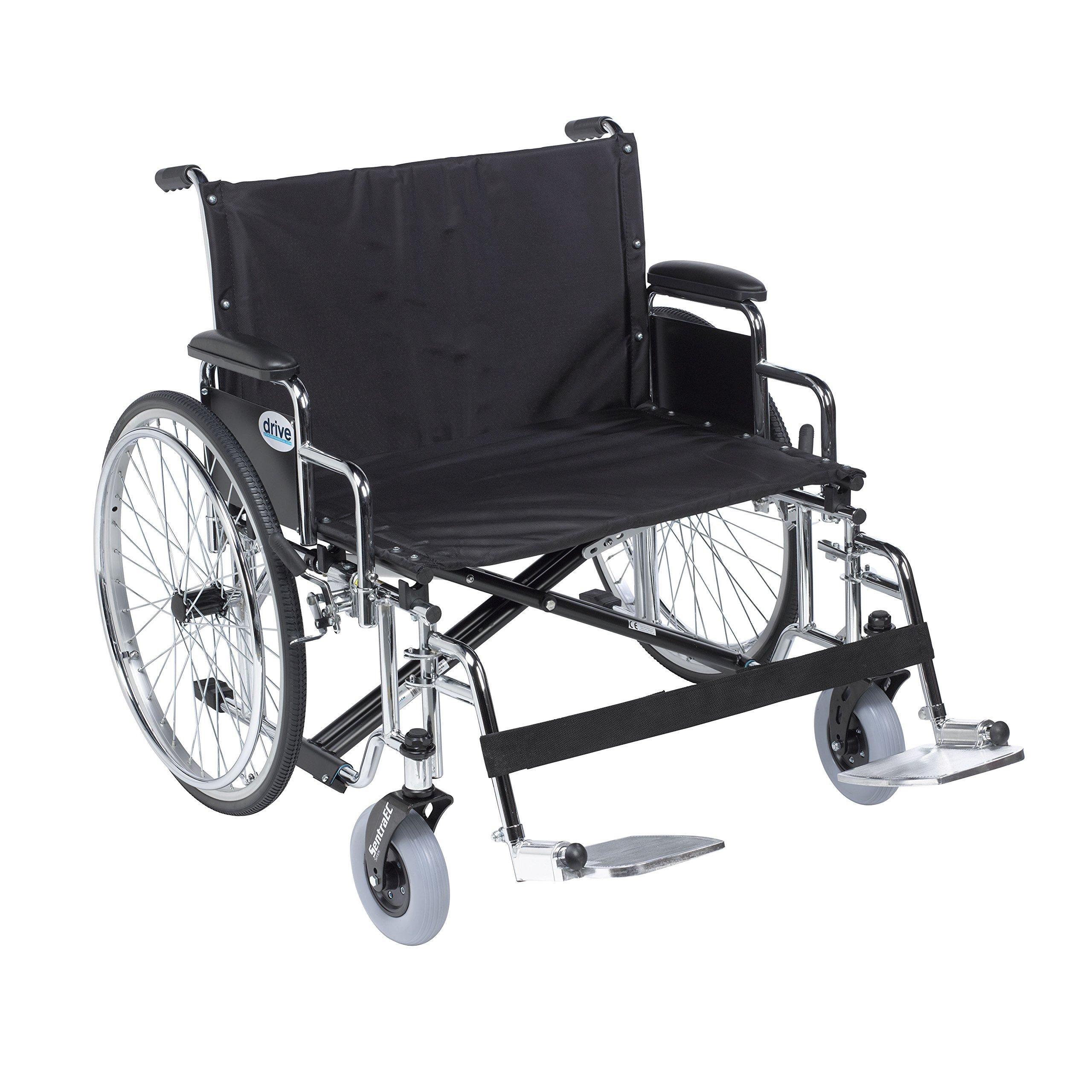 Drive Medical STD28ECDDA-SF Sentra Ec Heavy Duty Extra-Extra-Wide Wheelchair, Black