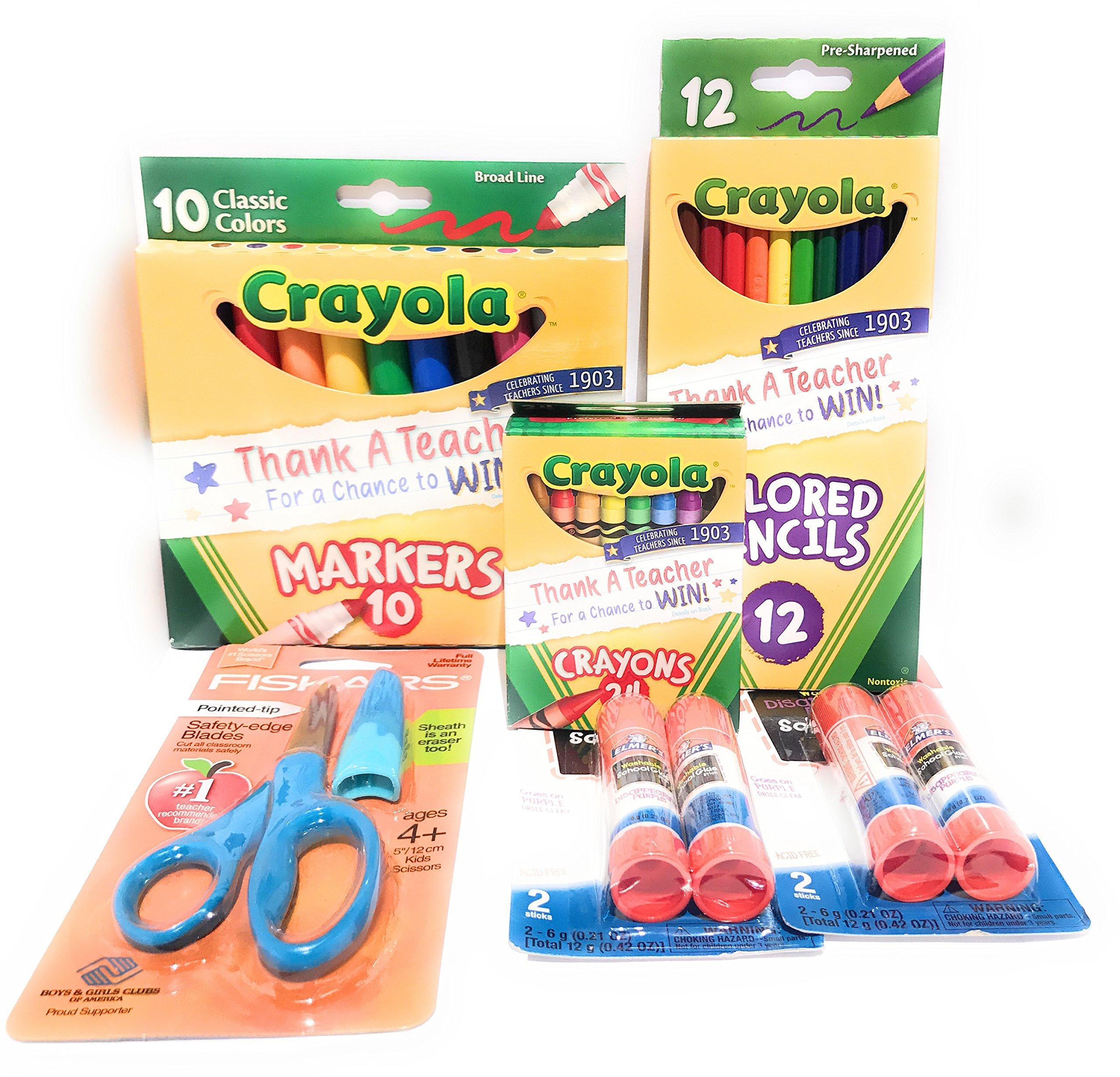 School Supplies Bundle - Blue Fiskars Pointed-tip Scissors, Crayola Markers, Colored Pencils and Crayons, Glue Sticks Bundle