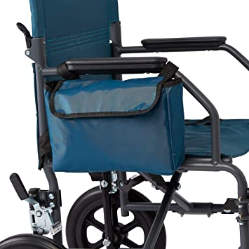 Medline Side Bag for Transport Chair, Waterproof Accessory Bag for Transport Wheelchairs is Made of