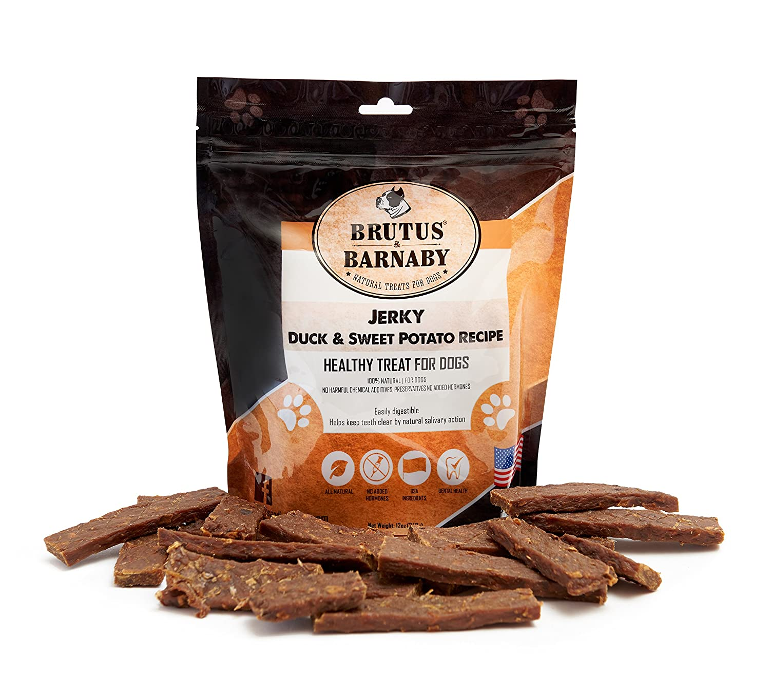 Brutus & Barnaby USA Duck and Sweet Potato Jerky, Grain Free with No Added Hormones, Our Moist Treats are High In Iron, Fiber and Vitamin's, Great as Training Rewards