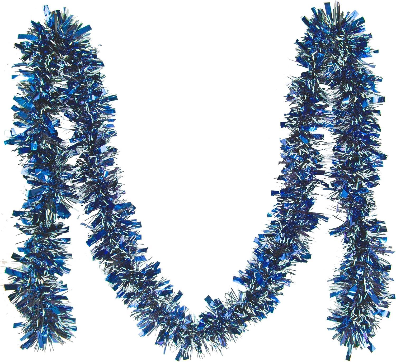 2m Puntas Blancas Azul Guirnaldas de Oropel Decoraciones Navide/ñas 5pz
