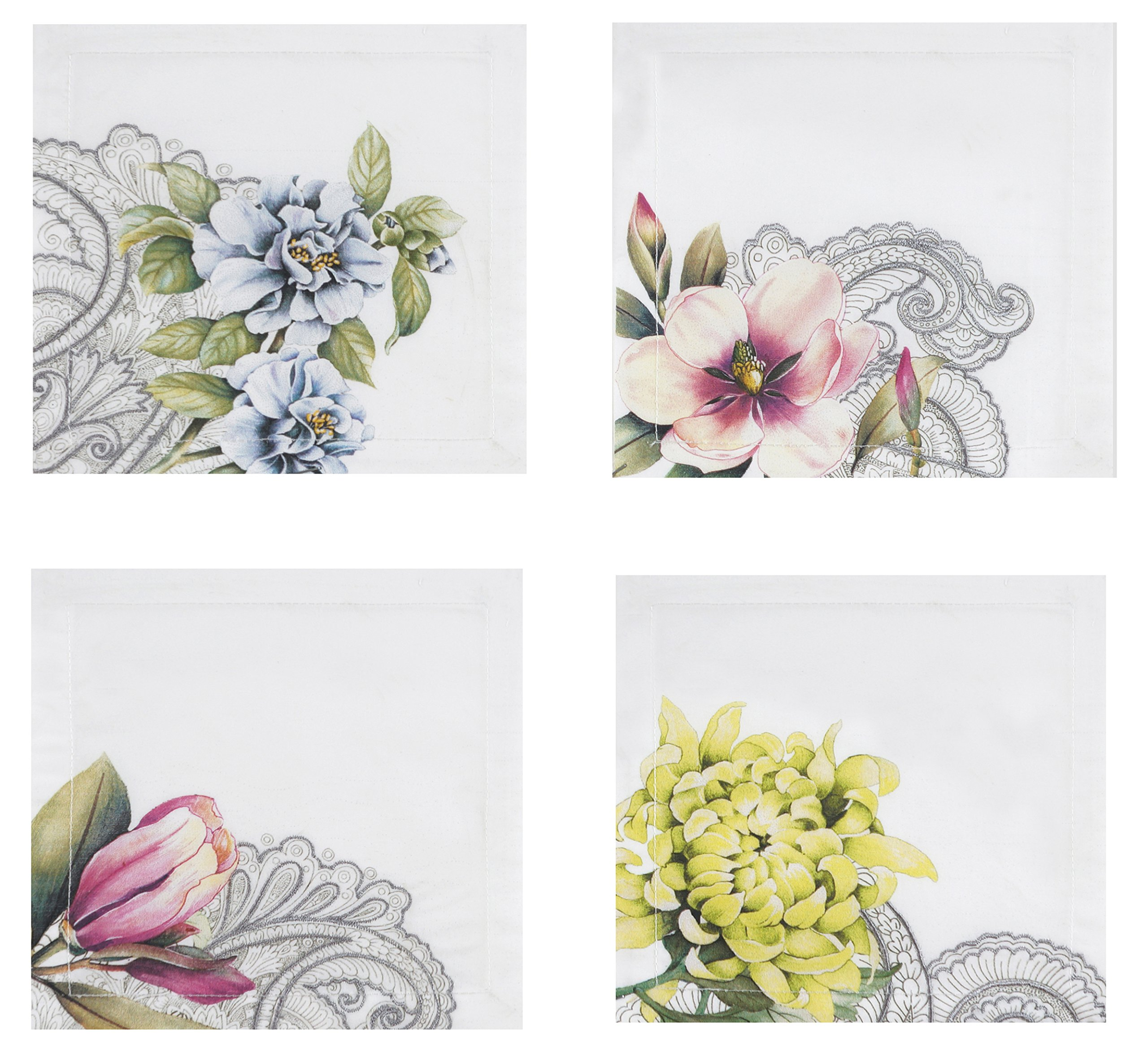 Villeroy and Boch Floral Embroidered Tea Napkin (Set of 4), 6''x6'', Multicolor