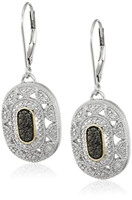 Sterling Silver and 14k Yellow Gold Diamond Art Deco Leverback Earrings