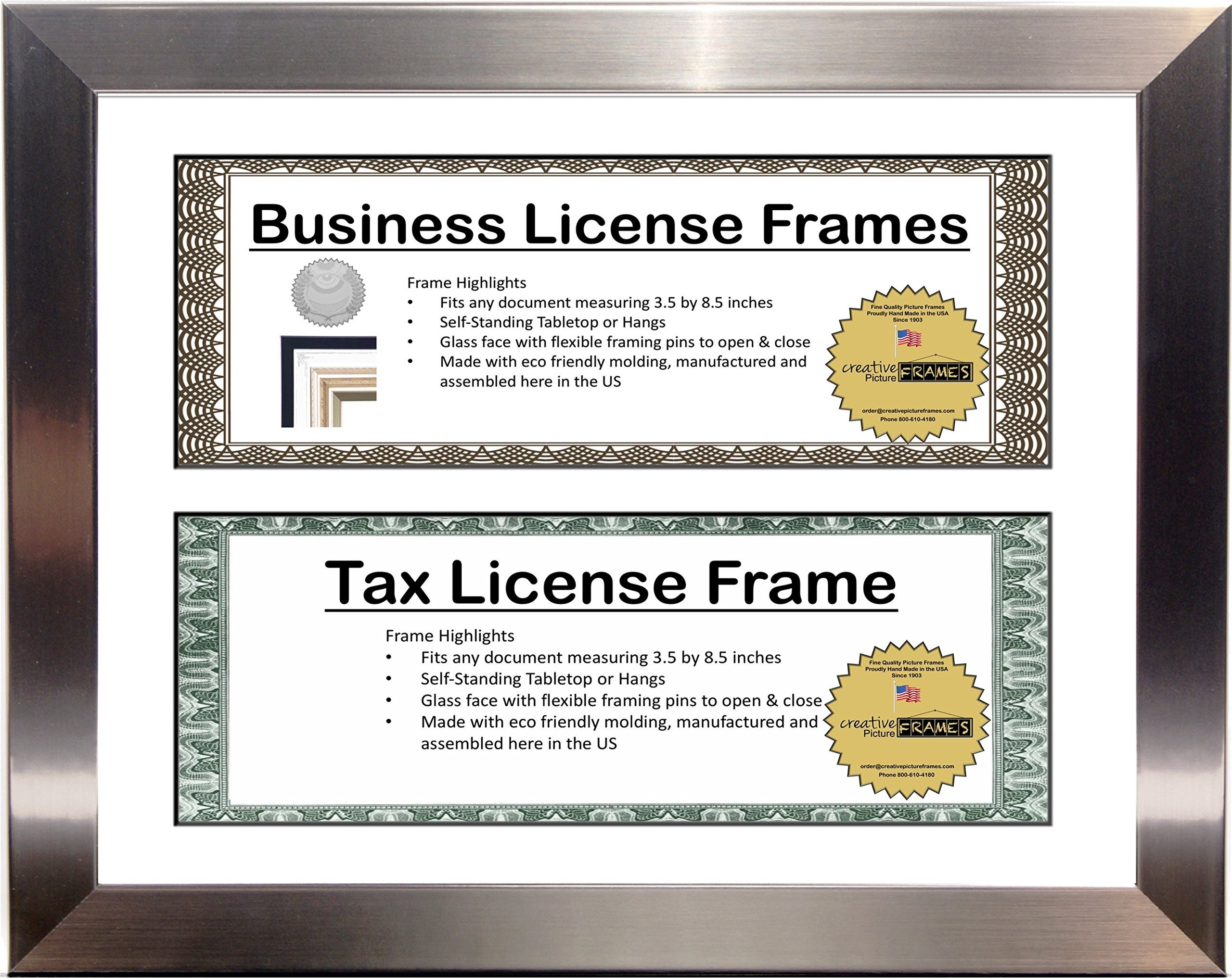 Creative Picture Frames Candy License (Sainless Steel-White Mat, Double License)