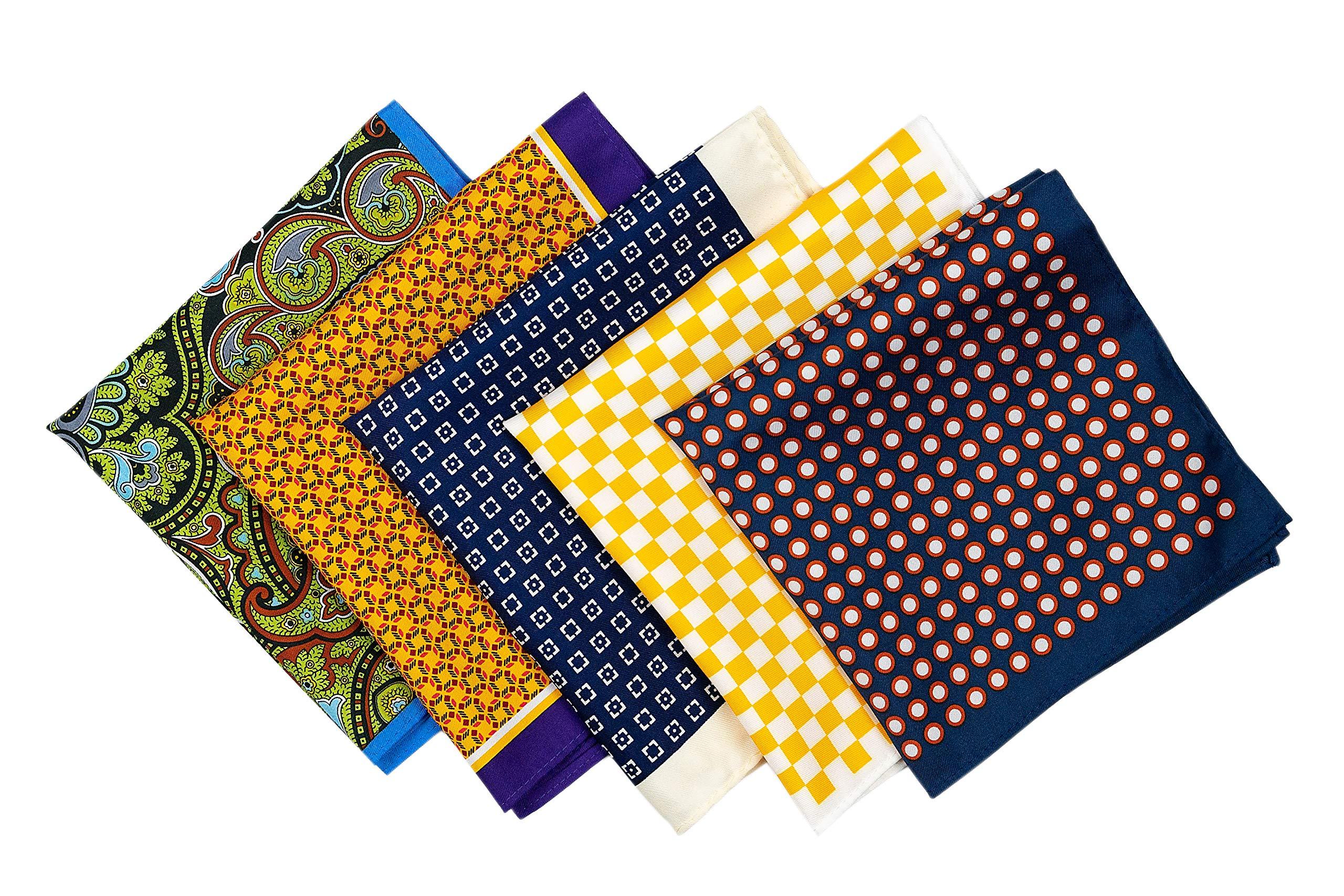 RAAVYA 5 Pcs Men's Pocket Squares Set Assorted Handkerchief Multicolored