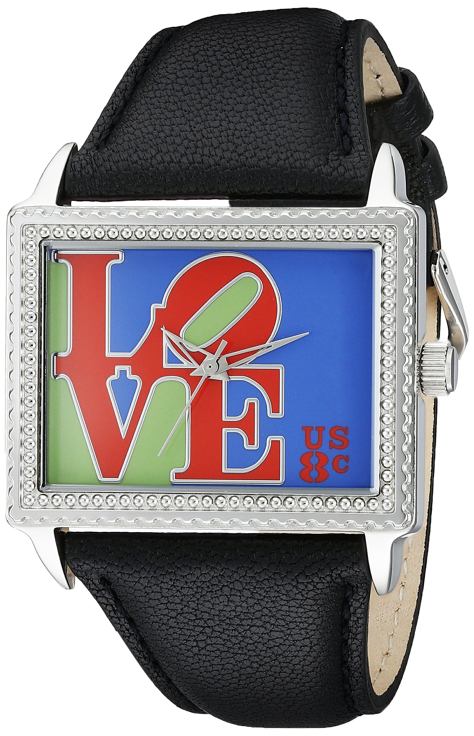 The P.S. Collection by Arjang and Co. Women's AZ-5004S-BK ''For Some One Special'' Iconic Love Black Leather Strap Watch and Sterling Silver Pendant Gift Set