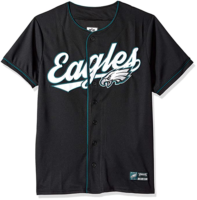 wholesale dealer 4564e ac9d9 Ultra Game NFL Philadelphia Eagles Men's Standard Baseball Jersey T Button  Up Mesh Shirt, Team Color, Black, Medium