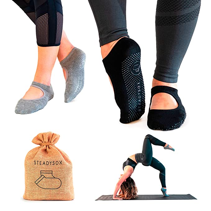 SteadySox Yoga Socks for Women Non-Slip Grip Socks for Pilates, Barre, Hospital, Dance & Workout