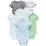 Simple Joys by Carter's Baby Boys 6-Pack Short-Sleeve Bodysuit, Blue/Grey, 0-3 Months