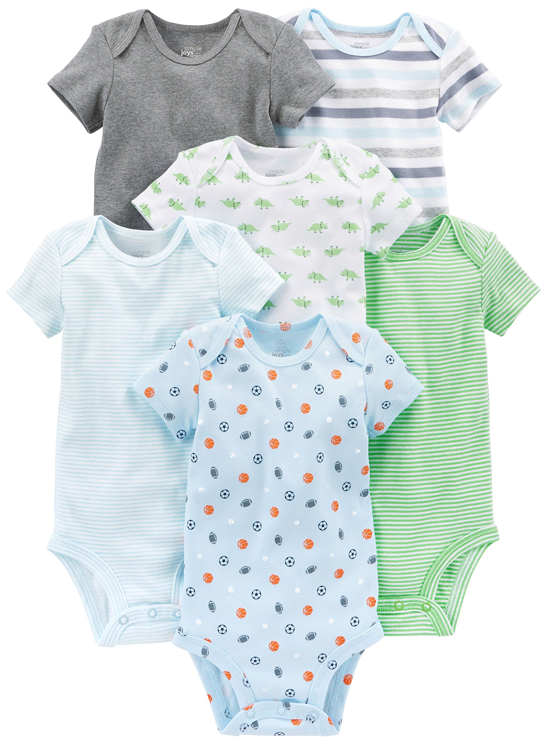Simple Joys by Carter's Baby Boys 6-Pack Short-Sleeve Bodysuit, Blue/Grey, 0-3 Months by Simple Joys by Carter's