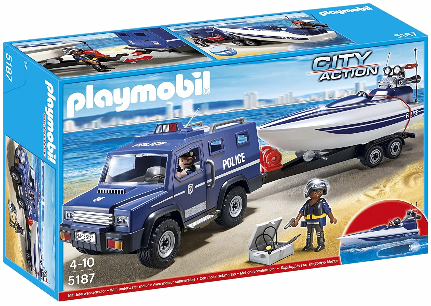 amazoncom playmobil police truck with speedboat toys games - Playmobile Police
