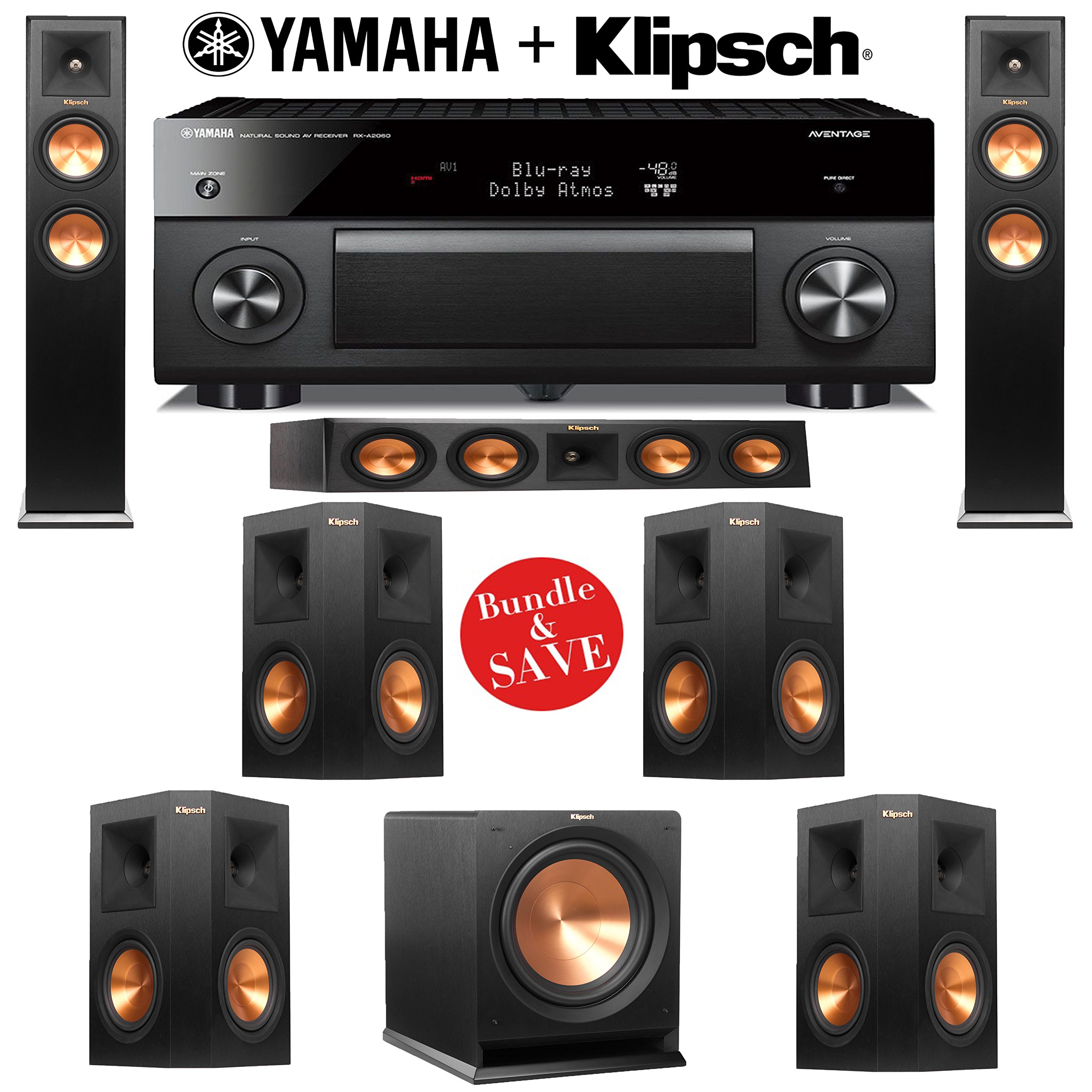 Klipsch RP-250F Reference Premiere 7.1 Home Theater System with Yamaha RX-A1060BL AVENTAGE 7.2-Ch Network A/V Receiver by Klipsch