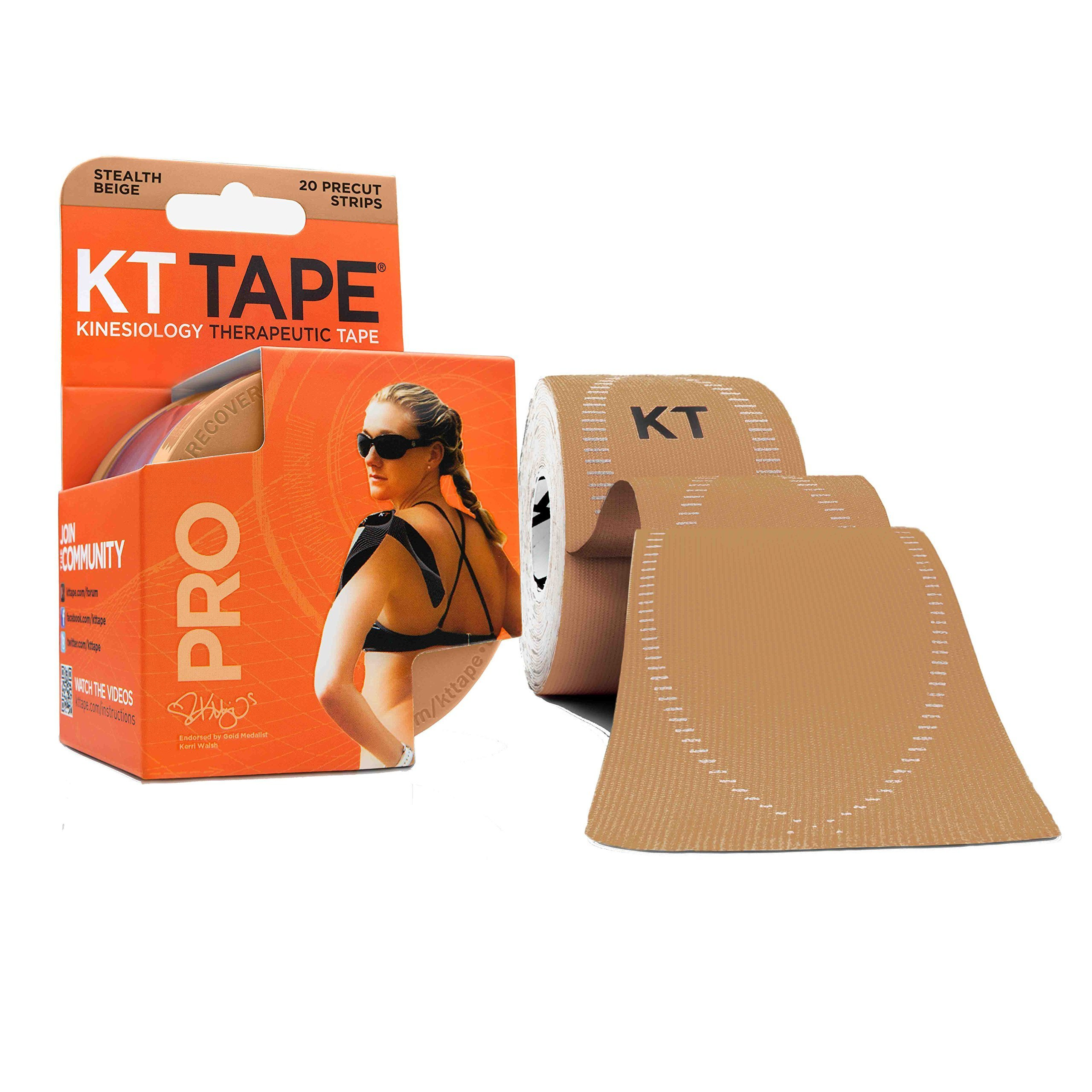 KT Tape Pro Kinesiology Therapeutic Sports Tape, 20 Precut 10 inch Strips, Stealth Beige, Latex Free, Water Resistance, Pro & Olympic Choice