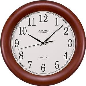 "La Crosse Technology WT-3122A 12.5 Inch Wood Atomic Analog Clock, 12.5"", Cherry Walnut"