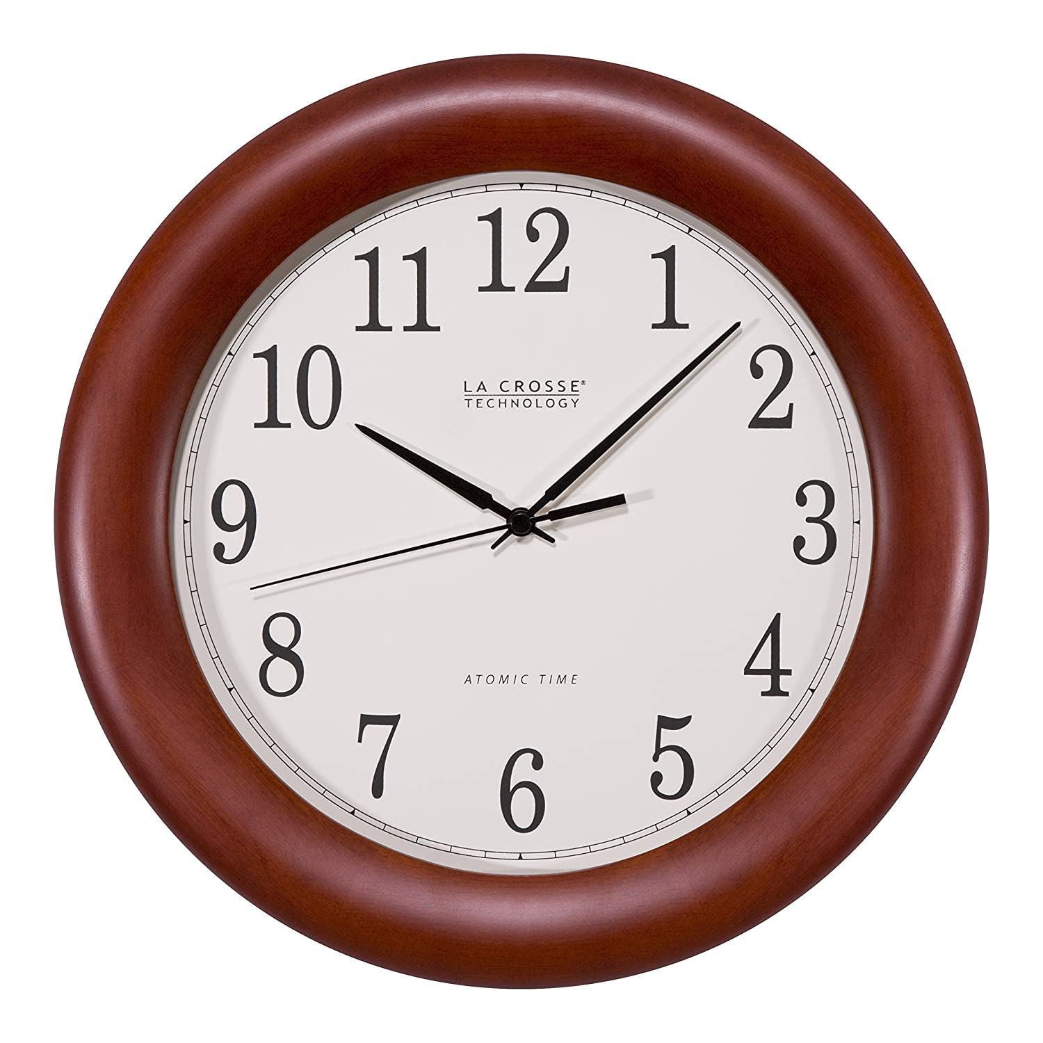 La Crosse Technology WT-3122A 12.5 Inch Cherry Wood Atomic Analog Clock (2-(Pack))