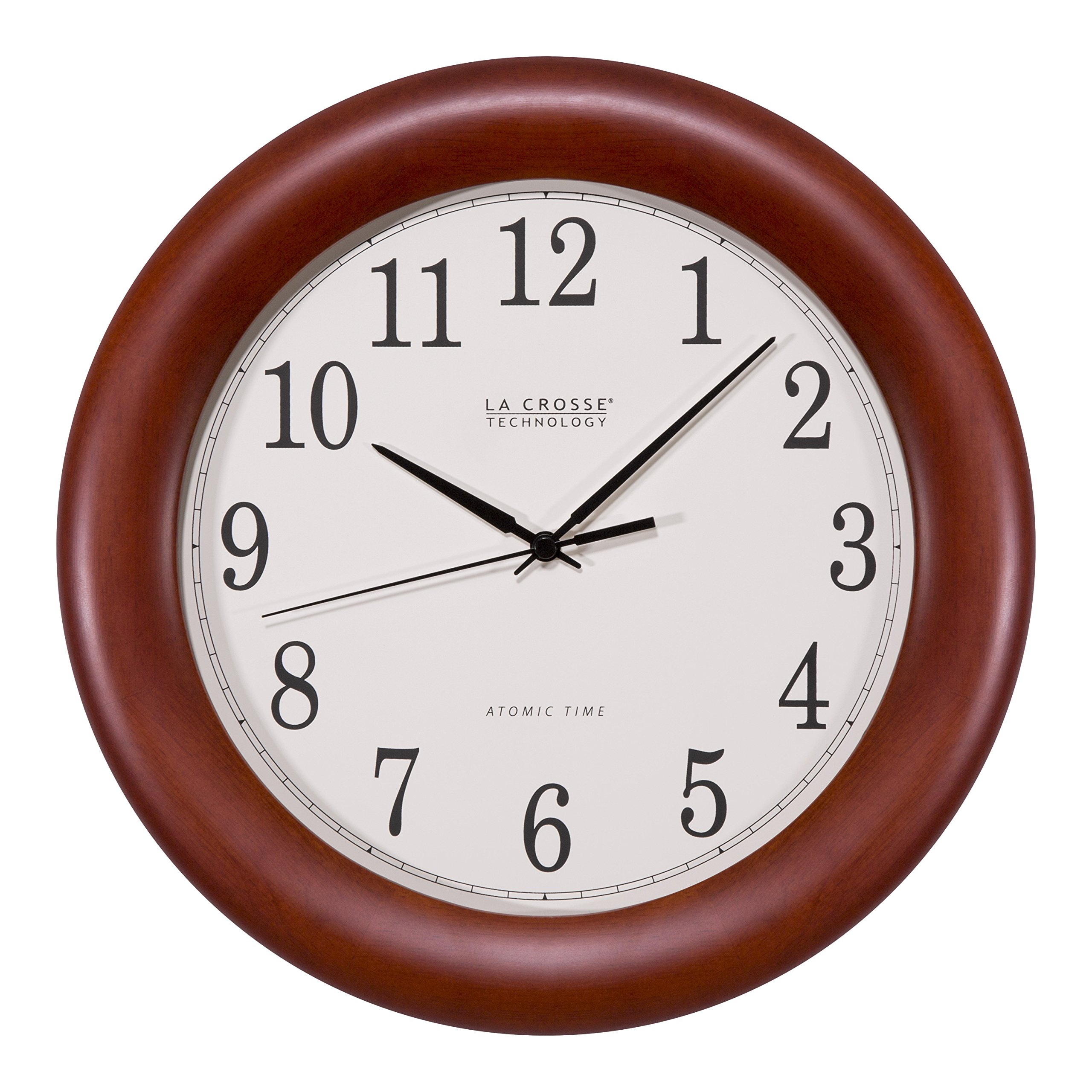 La Crosse Technology WT-3122A 12.5 Inch Cherry Wood Atomic Analog Clock