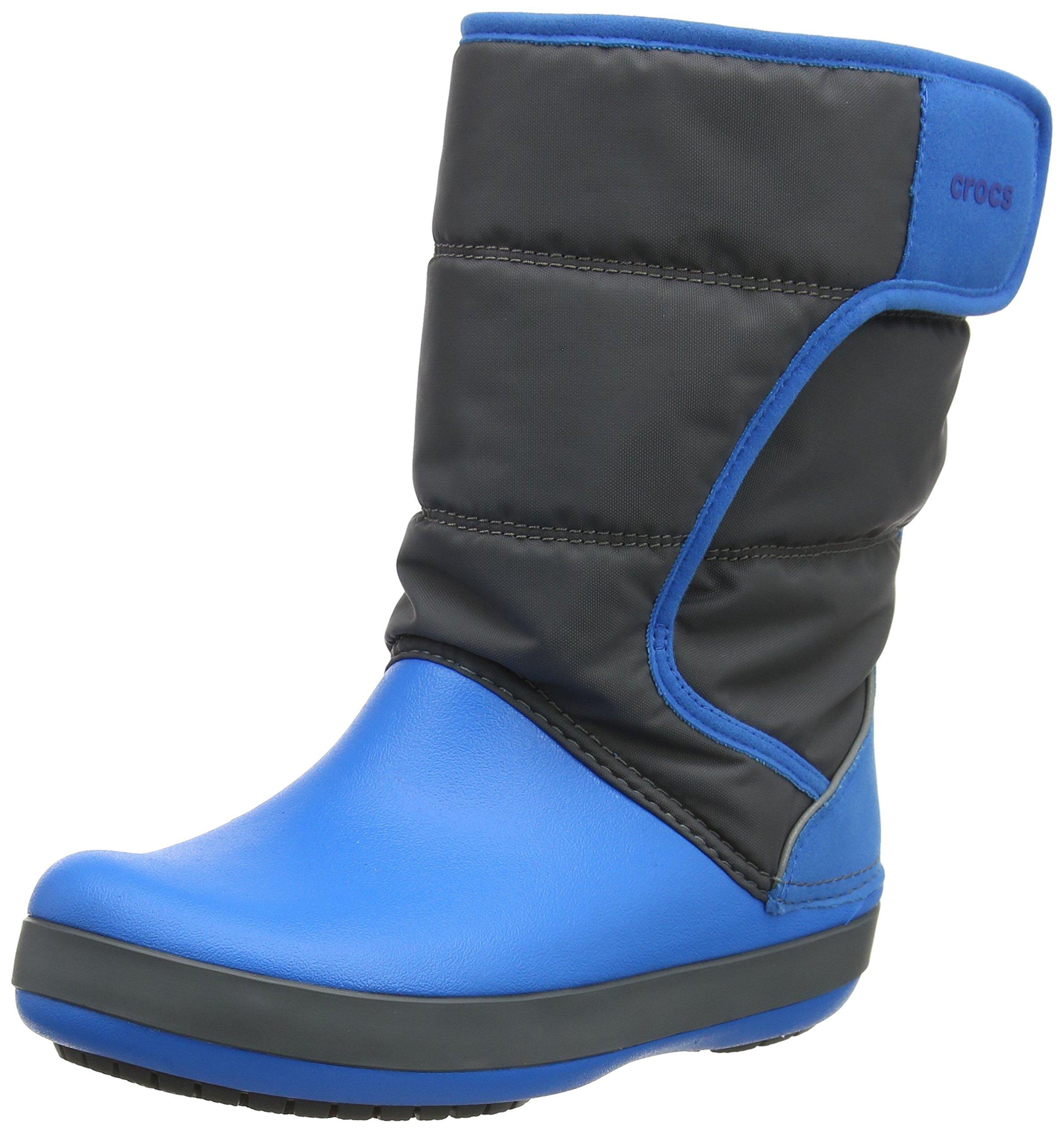 Crocs Lodge Point Snow Boot, Slate Grey/Ocean, 4 M US Big Kid