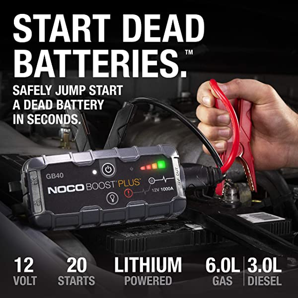 NOCO GB40 can provide a starting current of 1000Amps to a 6.0-liter gas engine or a 3.0-liter diesel engine.