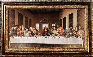 Mom's Art Studio - Last Supper Wall Decor 46.5 X 28 Inches, Leonardo Da Vinci Reproductions, Museum Look Art Framed, Artist's Acrylic Coating, Wall Art for Home Decor (Gold Line, Classic 46.5 X 28)