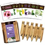Herb Garden Seeds for Planting - 10 Medicinal Herbs Seed Packets Non GMO, Wood Gift Box, Plant Markers - Herbal Tea Gifts for