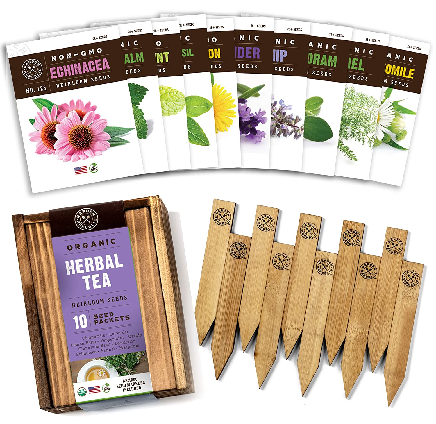 Herb Garden Seeds for Planting - 10 Medicinal Herbs Seed Packets USDA Organic Non GMO, Wood Gift Box Plant Markers eBook - Herbal Tea Gifts for Tea Lovers, Herb Growing Kit Indoor Garden Starter Kit
