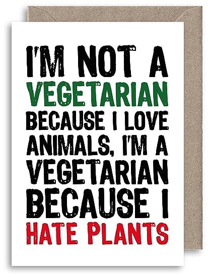 Divertida tarjeta de felicitación vegetariana - Tarjeta de ...