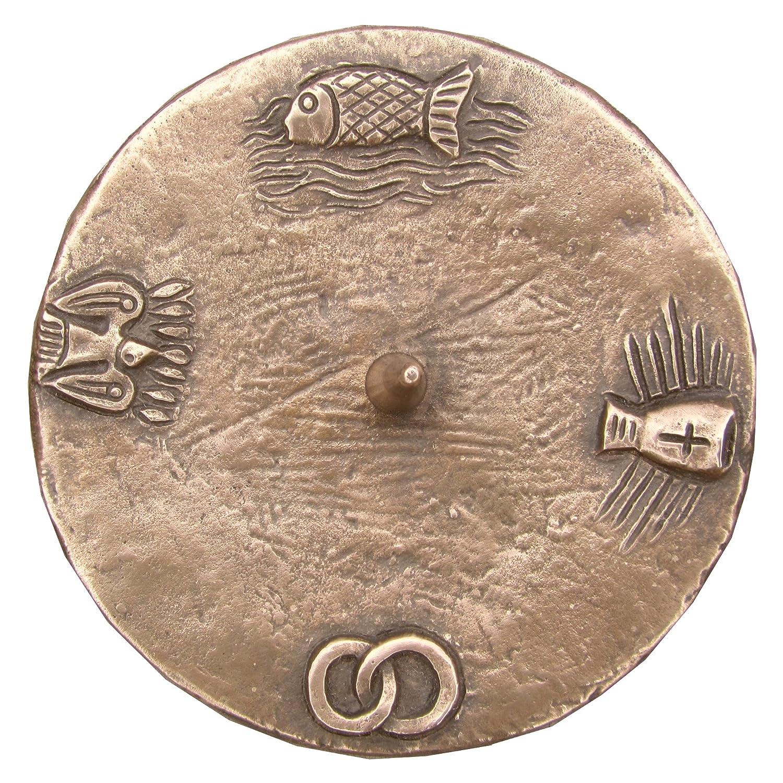 Taufkerzenleuchter Kerzenleuchter Leuchter 4 Symbole 12 cm Bronze Ringfuss