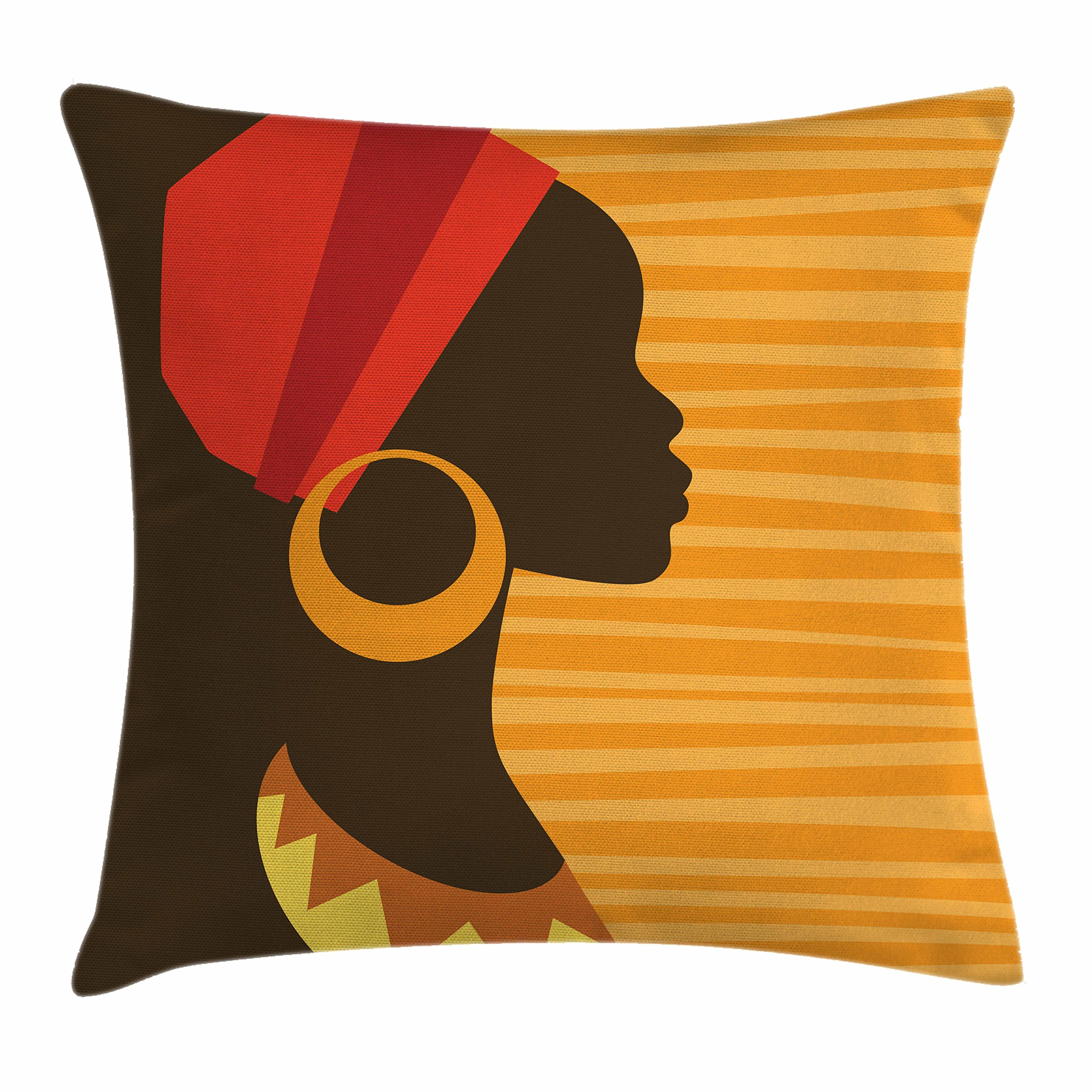 Ambesonne Afro Decor Throw Pillow Cushion Cover, Girl Profile Silhouette with Earrings Grace and Elegance Icon Image, Decorative Square Accent Pillow Case, 20 X 20 Inches, Dark Brown Merigold