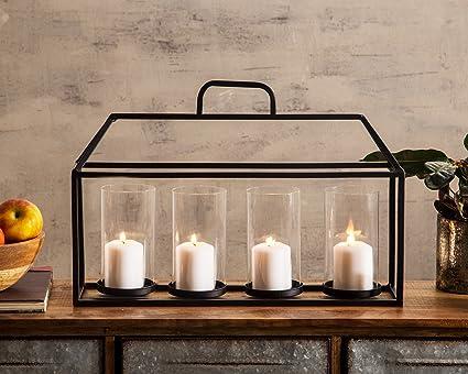 d74c58776d4 Amazon.com  Decorative Glass   Metal Four-Piece Candleholder for ...