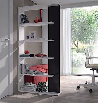 Alida White Gloss With Black Bookcase Room Divider