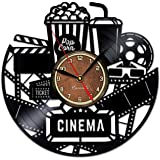 Cinema and Popcorn Vinyl Record Clock - Game Room Wall Decor by Handmade Solutions - Gift Idea for a Best Friend