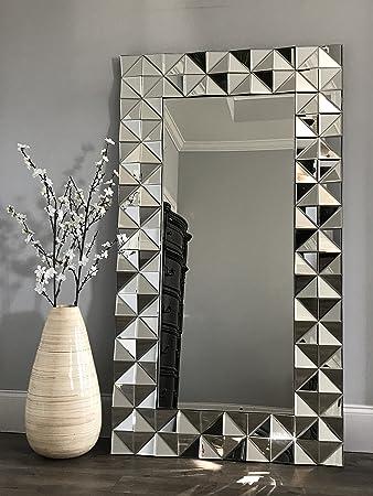 Azul luxe decor diamant modern wall or floor mirror with beveled mirror diamonds
