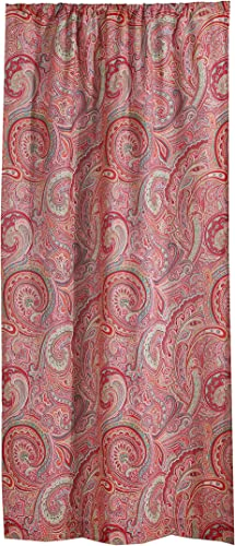 Levtex Home – Spruce Red – Window Panel with Rod Pocket – One Curtain Panel 84 inch Length – Paisley – Burgundy, Red, Orange, Green, Taupe – 100 Cotton – Lined