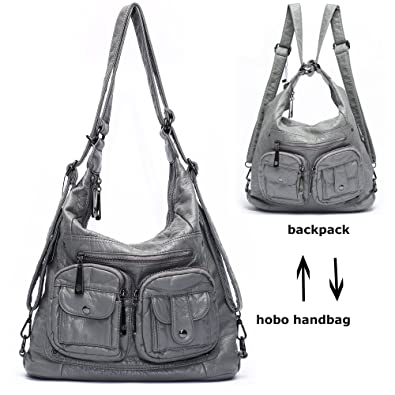 Amazon.com  Mlife Soft Washed Leather Women Shoulder Bag Hobo Backpack  (Grey)  MLIFE INTERNATIONAL INC 6dcec840714d3