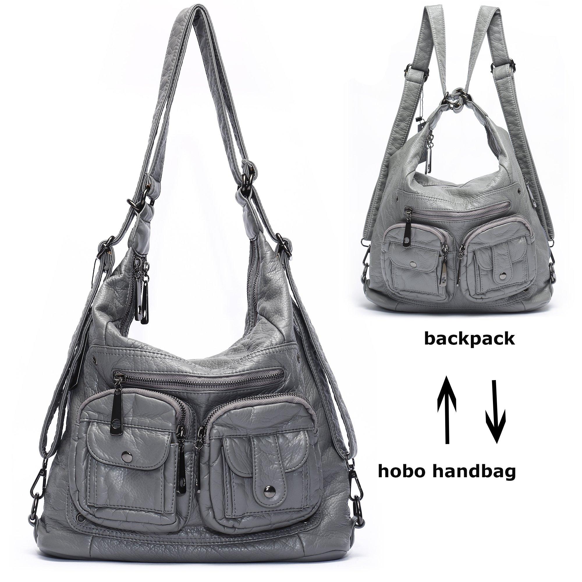 Mlife Soft Washed Leather Women Shoulder Bag Hobo Backpack (Grey)