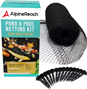AlpineReach 15 x 20 Feet Koi Pond Netting Kit Gift Box - Woven Fine Mesh Heavy Duty Stretch Net Cover for Leaves - Protects Koi Fish from Blue Heron Birds Cats Predators UV Protection Stakes Included