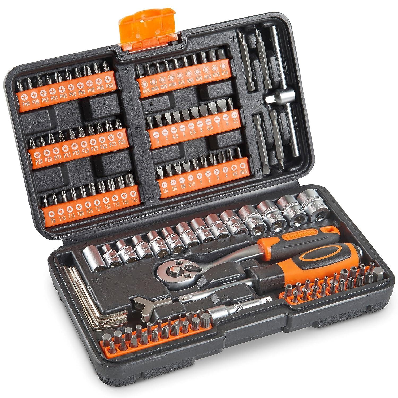 Lot de 130 douilles et mèches VonHaus comprenant une clé à cliquet 72 dents : utile pour le bricolage quotidien, les réparations de son vélo, les réparations légères de la voiture et le vissage