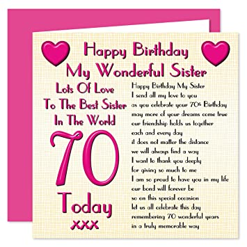 Sister 70th Happy Birthday Card