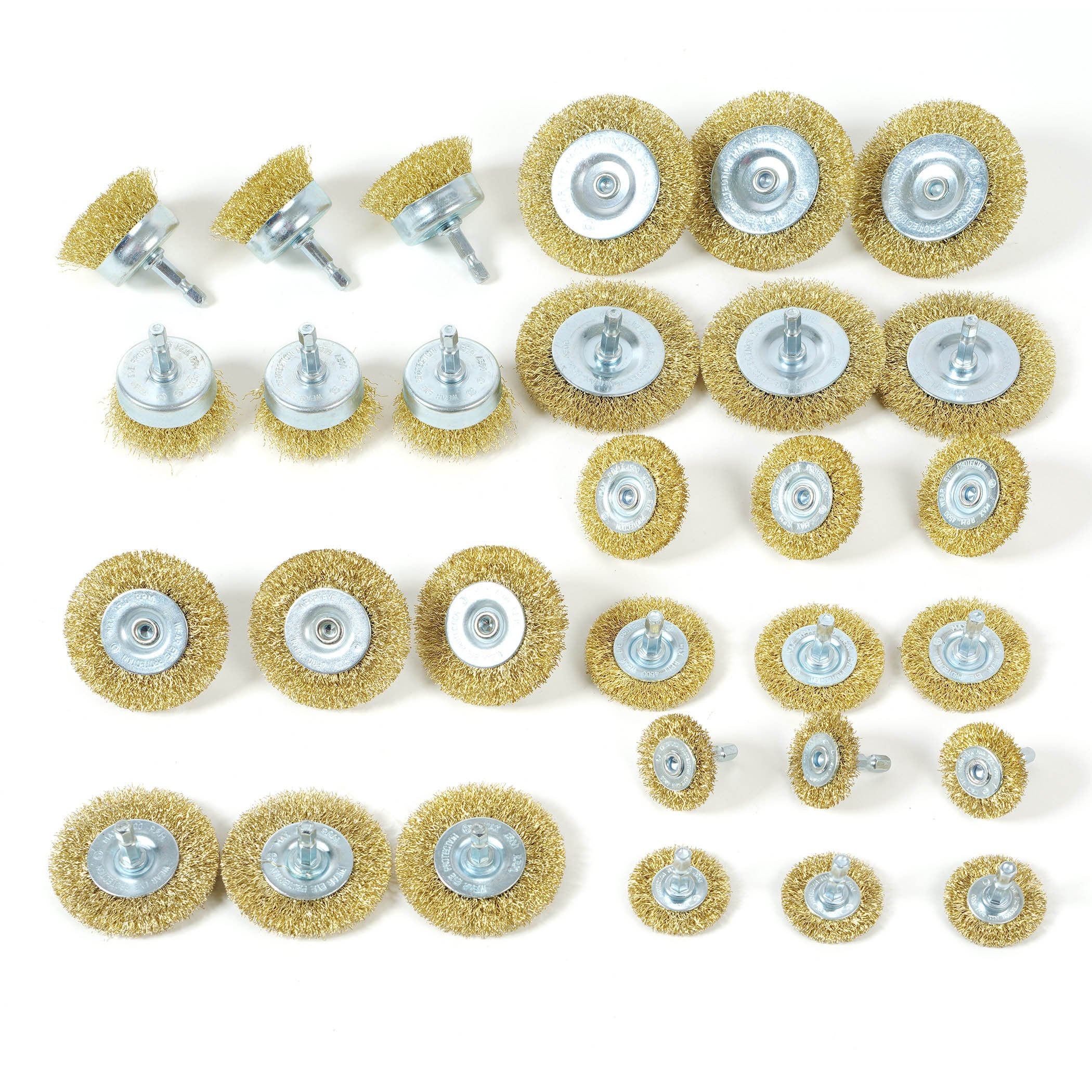 WORKPRO Wire Brush Wheels, 30-piece Cup Brush Set with 1/4-Inch Hex Shank