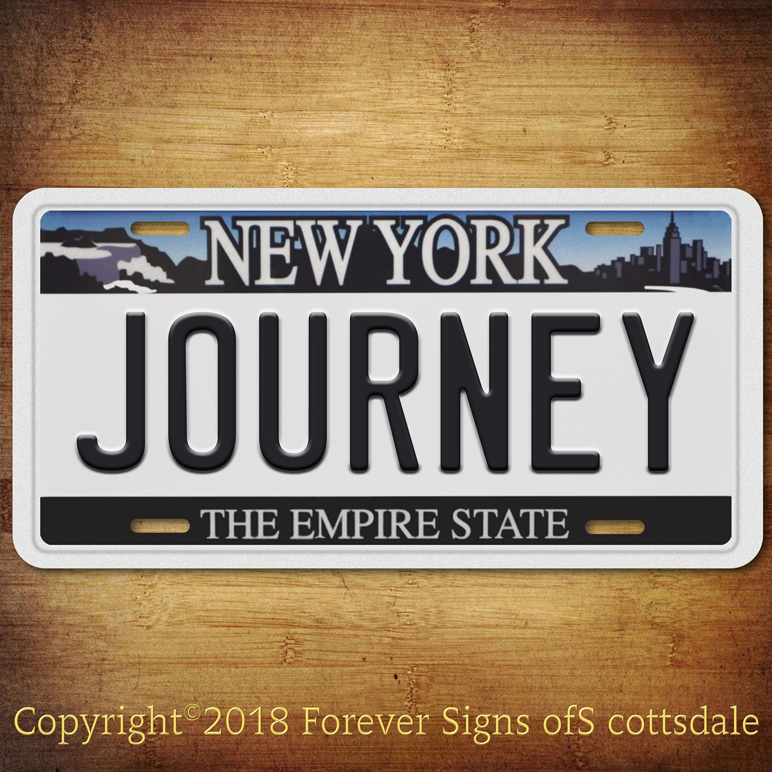 Journey Rock And Roll Band New York Aluminum Vanity License Plate White Tag
