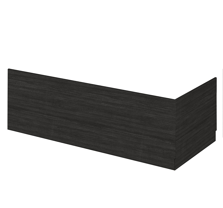 Hacienda Black Straight Bath Side Panel & Plinth 1700mm Pebble Grey
