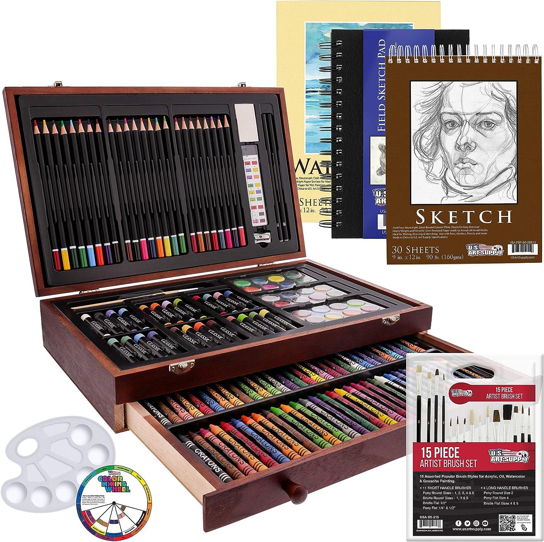 US Art Supply 162 Piece-Deluxe Mega Wood Box Art, Painting & Drawing Set